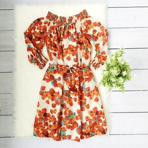 Tommy Bahama White Orange Off Shoulder Dress #322